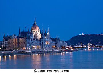 luces, noche, budapest-hungary
