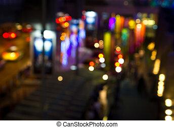luces, noche, ciudad
