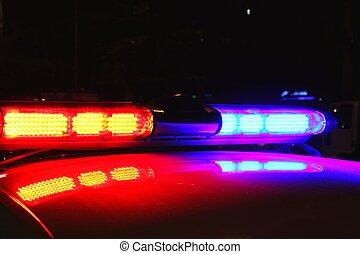 luces, policía, noche