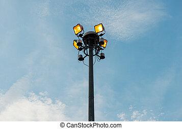 luces, poste, deporte, jardín, público