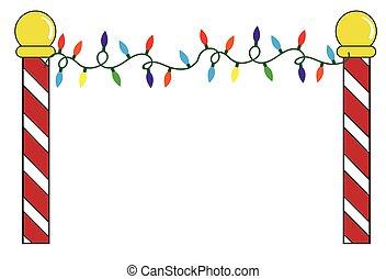 luces, poste, norte, navidad