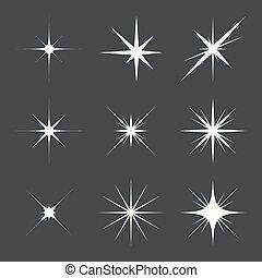 luces, vector, conjunto, destello