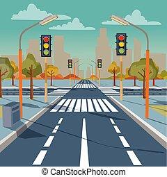 luces, vector, encrucijada, tráfico de la ciudad