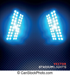 luces, vector, estadio