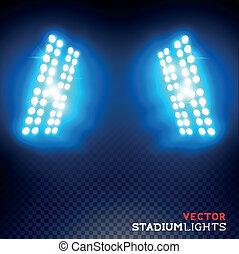 luces, vector, estadio