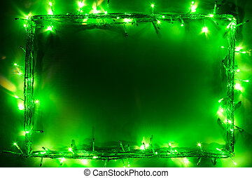 luces verdes, navidad, marco