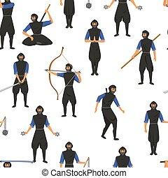 lucha, arma, ninja, vector, illustration., ataque, movimiento, habilidades, japonés, seamless, asesino, patrón