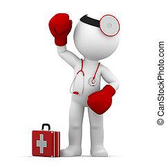 lucha, doctor., conceptual, ilustración médica