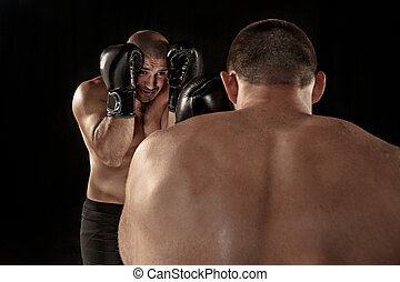 lucha, entrenamiento, otro, hombres, boxeo, dos, muscular,...