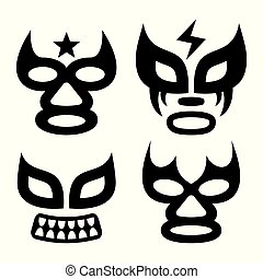 Lucha Libre faces vector design, luchador or luchadora graphics - Mexican wrestling traditinonal male and female black mask set