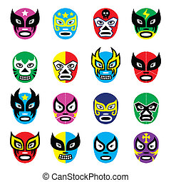 Vector icons set of masks worn during wrestling fights in Mexico isolated on white