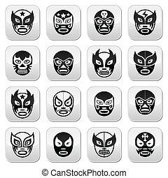 Lucha libre, luchador Mexican wrest - Vector buttons set of...