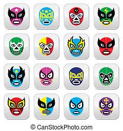 Lucha Libre, Luchador Mexican wrest - Vector icons set of...