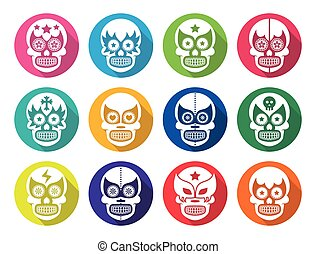 Vector icons set of Mexican wrestling masks on skulls isolated on white