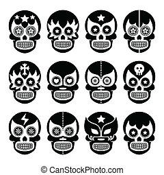 Lucha Libre - Mexican sugar skull - Vector icons set of...