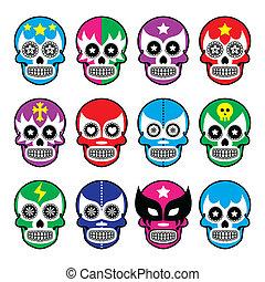Lucha Libre sugar skull masks icons - Vector icons set of...