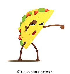 lucha, luchador, calle, malo, alimento, taco, carácter, rápido, caricatura, ilustración, mexicano, tipo