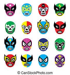 lucha, mexicano, libre, máscaras, luchador