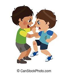 lucha, ser, vector, comportamiento, rasguño, dos, niños, ilustraciones, bullies, niños, ofensiva, malo, caracteres, grosero, parte, serie