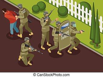 lucha, terroristas, isométrico, ilustración