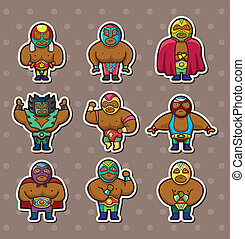 luchador, caricatura, pegatinas