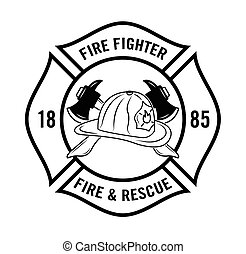 luchador, fuego, resque, n, :, insignia
