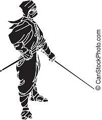 luchador, illustration., -, vector, vinyl-ready., ninja