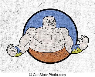 luchador, ilustración