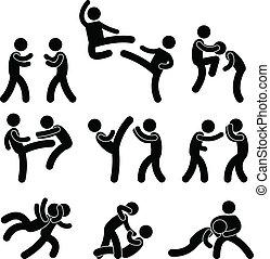 luchador, muay, tailandés, boxeo, karate