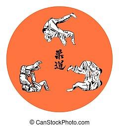 luchadores, backgro, seis, judo, rojo