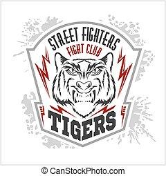 luchadores, emblema, logo., calle, club, etiqueta, -, insignia, lucha