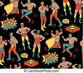 Luchadores Heroes Illustration