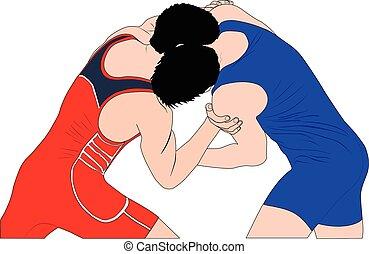 luchadores, hombres, lucha, dos, grecorromano