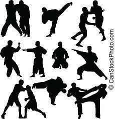 luchadores, siluetas