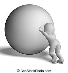luchar, cuesta arriba, hombre, con, pelota, actuación,...
