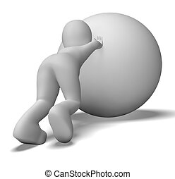luchar, cuesta arriba, hombre, con, pelota, exposiciones,...