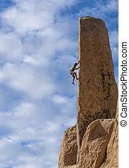 luchas, arriba, cliff., trepador