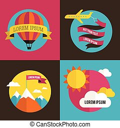 lucht, balloon, zon, en, vliegtuig, achtergronden