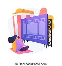 lucht, bioscoop, vector, concept, open, metafoor