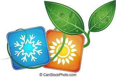 lucht conditionerend, bio, symbool