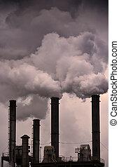lucht, globaal, -, het verwarmen, vervuiling