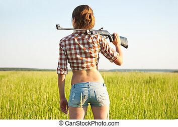 lucht, meisje, pneumatisch, geweer