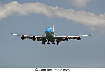 lucht, passagier, transportation:, vliegtuig.