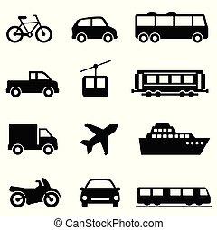 lucht, publiek, land, zee, vervoer, iconen