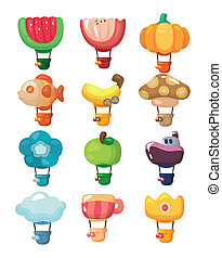 lucht, warme, pictogram, balloon, spotprent