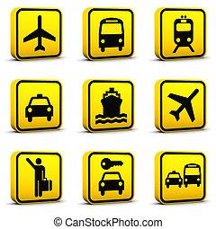 luchthaven, 01, set, stijl, iconen