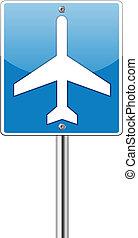 luchthaven, etiket, verkeer, glanzend, meldingsbord
