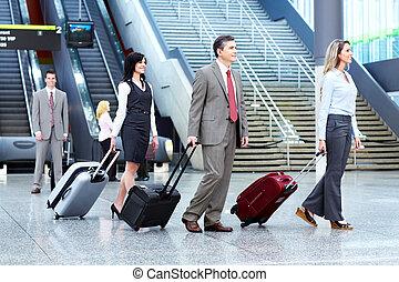 luchthaven., groep, zakenlui