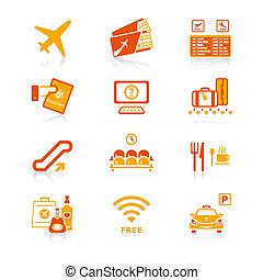 luchthaven, iconen, |, sappig, reeks