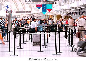 luchthaven, menigte
